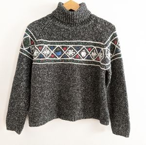 Talbots Marled Knit Wool Christmas Sweater Large